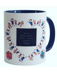 "Mug bicolore bleu ""merci..."